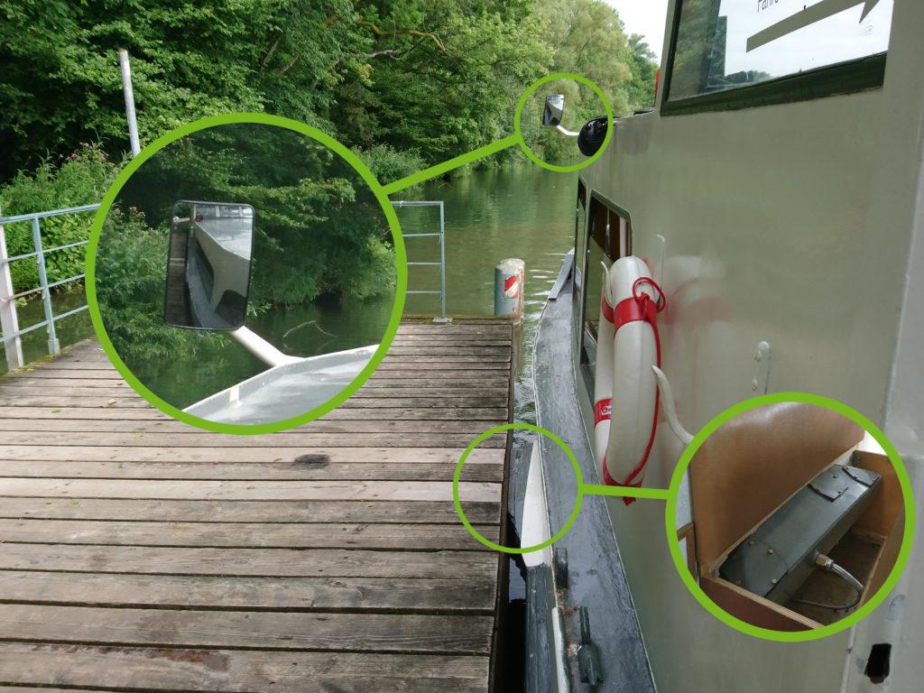 Ein kleiner Spiegel zeigt den Abstand zum Maschsee-Anleger an und der Magnet hält das Boot dort fest.
